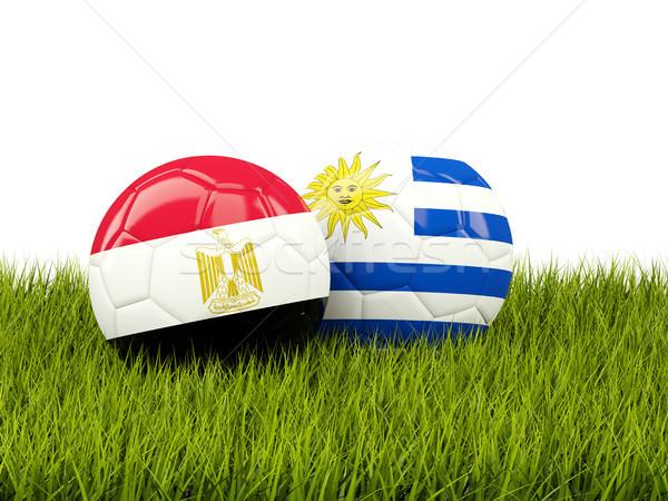 Egyiptom vs Uruguay futball zászlók zöld Stock fotó © MikhailMishchenko