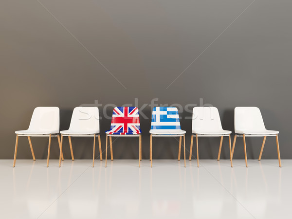 Chairs with flag of United Kingdom and greece Stock photo © MikhailMishchenko