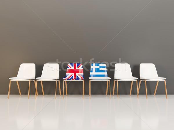 Sandalye bayrak Büyük Britanya Yunanistan 3d illustration Stok fotoğraf © MikhailMishchenko