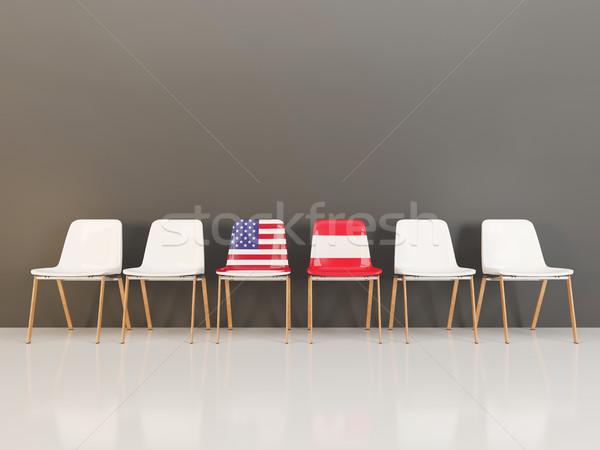 Stock fotó: Székek · zászló · USA · Ausztria · csetepaté · 3d · illusztráció