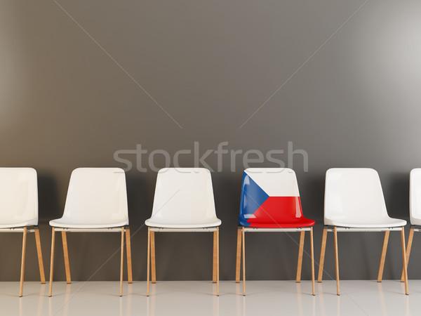 Sedia bandiera Repubblica Ceca fila bianco sedie Foto d'archivio © MikhailMishchenko
