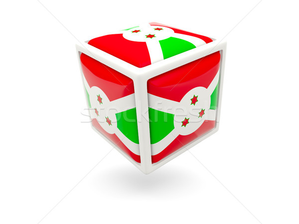 Vlag Boeroendi kubus icon geïsoleerd witte Stockfoto © MikhailMishchenko
