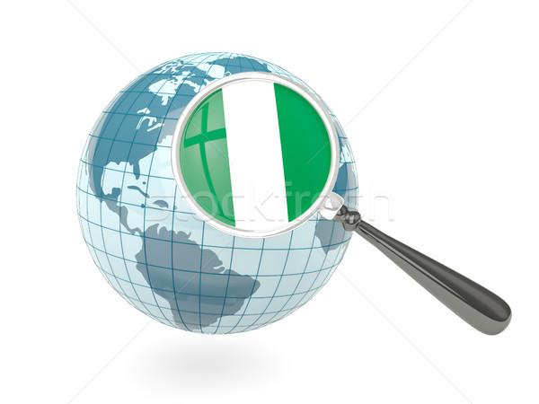 Bayrak Nijerya mavi dünya yalıtılmış Stok fotoğraf © MikhailMishchenko