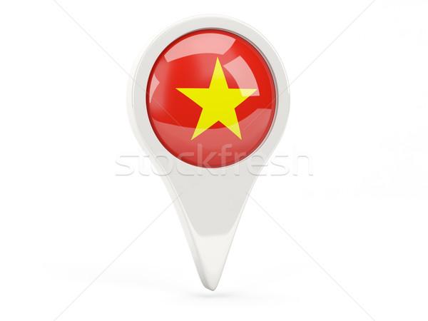 Bandeira ícone Vietnã isolado branco mapa Foto stock © MikhailMishchenko