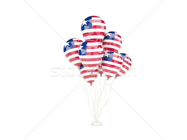 Voador balões bandeira Libéria isolado branco Foto stock © MikhailMishchenko