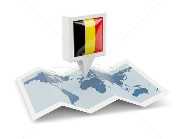 Square pin with flag of belgium on the map Stock photo © MikhailMishchenko