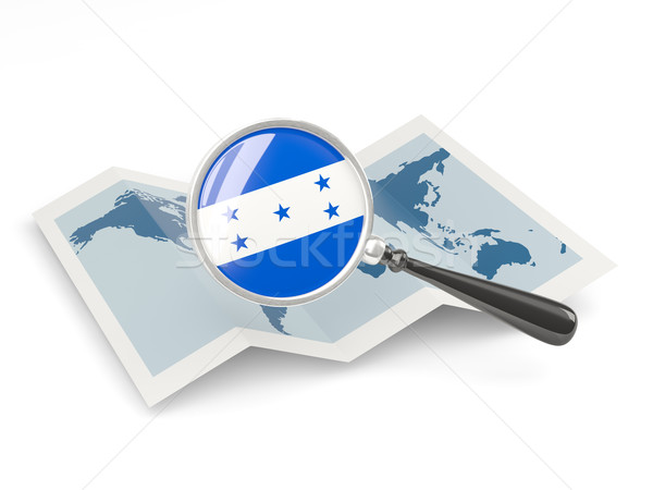 拡大された フラグ ホンジュラス 地図 白 ストックフォト © MikhailMishchenko
