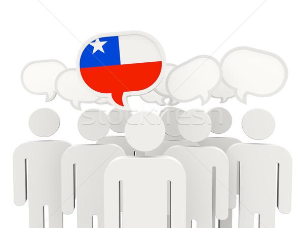 Emberek zászló Chile izolált fehér megbeszélés Stock fotó © MikhailMishchenko