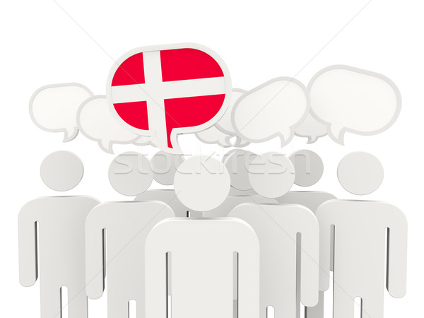 Pessoas bandeira Dinamarca isolado branco reunião Foto stock © MikhailMishchenko