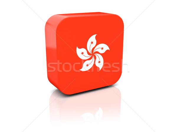 Square icon with flag of hong kong Stock photo © MikhailMishchenko