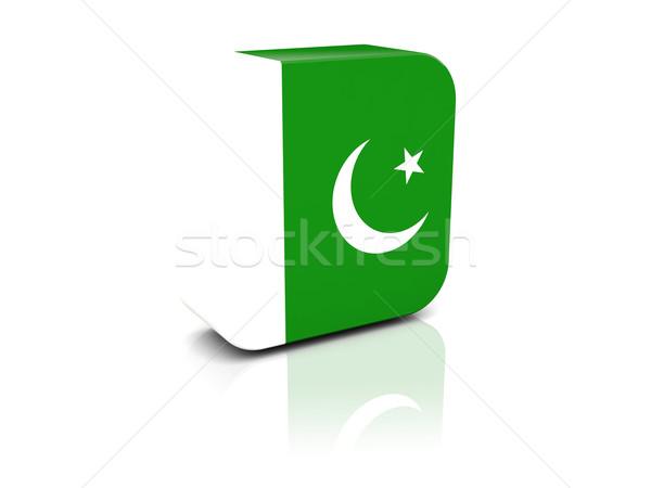 Vierkante icon vlag Pakistan reflectie witte Stockfoto © MikhailMishchenko