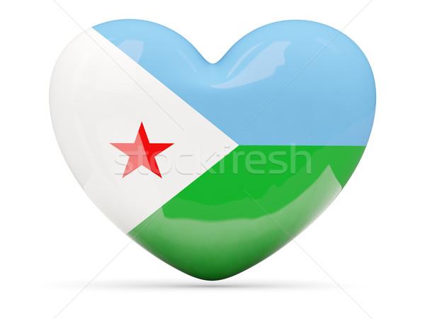 Serca ikona banderą Dżibuti odizolowany Zdjęcia stock © MikhailMishchenko