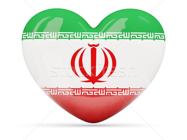 Szív alakú ikon zászló Irán izolált Stock fotó © MikhailMishchenko