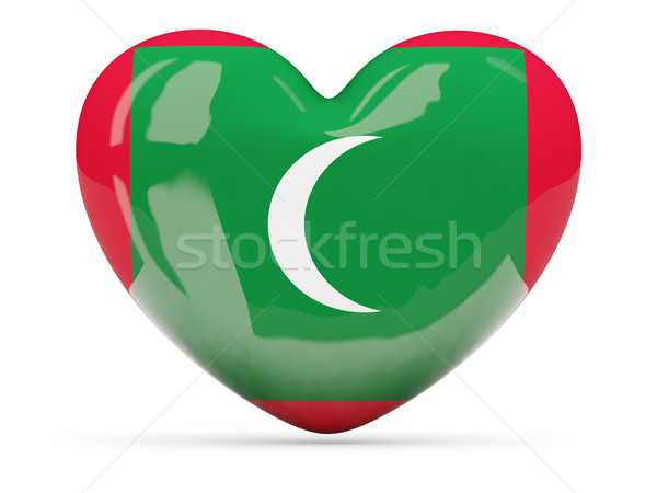 Heart shaped icon with flag of maldives Stock photo © MikhailMishchenko