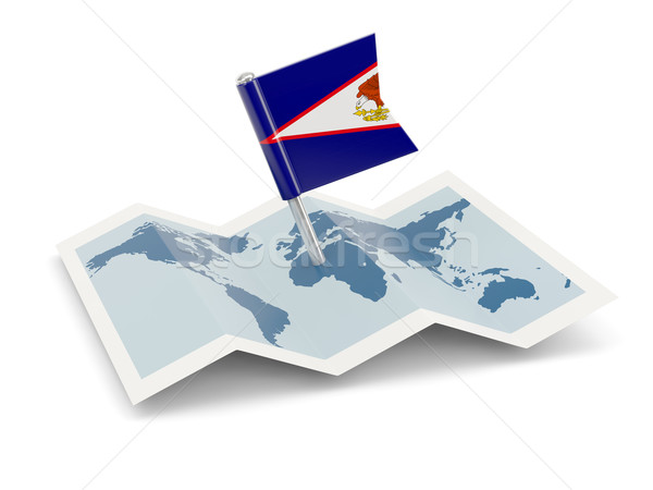 Mapa bandeira Samoa Americana isolado branco Foto stock © MikhailMishchenko