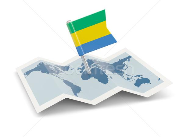 карта флаг Габон изолированный белый Сток-фото © MikhailMishchenko