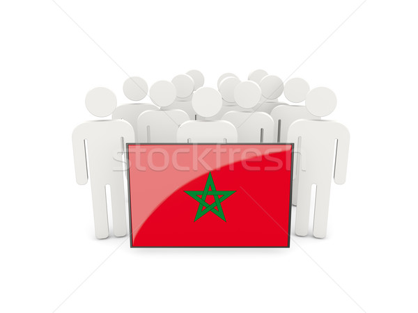 People with flag of morocco Stock photo © MikhailMishchenko
