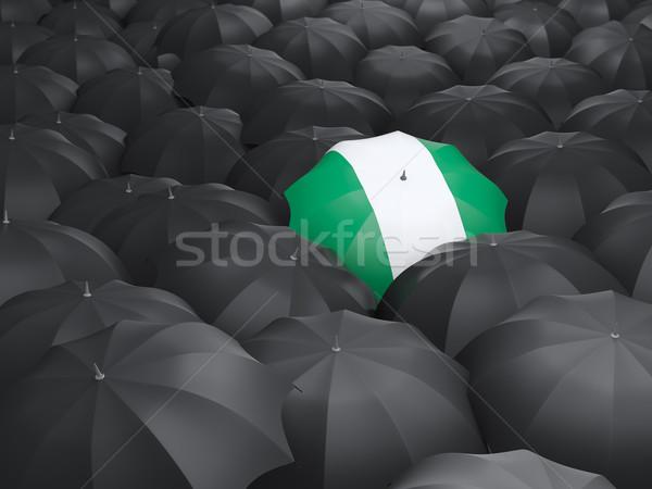Guarda-chuva bandeira Nigéria preto guarda-chuvas viajar Foto stock © MikhailMishchenko