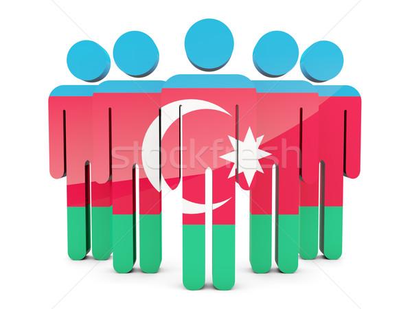 Emberek zászló Azerbajdzsán izolált fehér tömeg Stock fotó © MikhailMishchenko