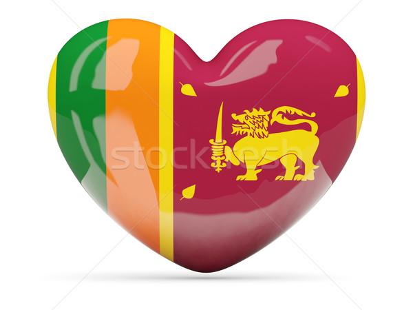 Heart shaped icon with flag of sri lanka Stock photo © MikhailMishchenko
