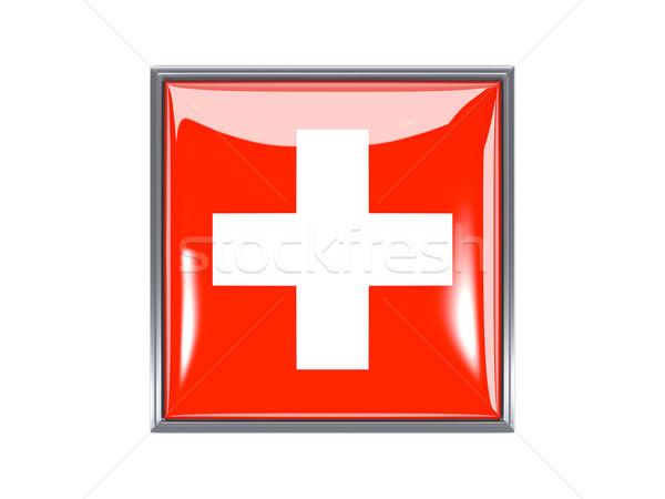 Placu ikona banderą Szwajcaria metal ramki Zdjęcia stock © MikhailMishchenko