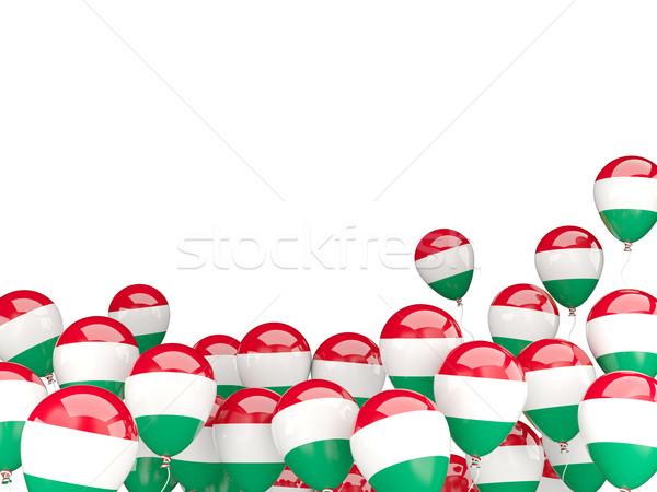 Voador balões bandeira Hungria isolado branco Foto stock © MikhailMishchenko