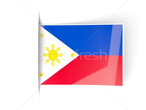 Praça etiqueta bandeira Filipinas isolado branco Foto stock © MikhailMishchenko