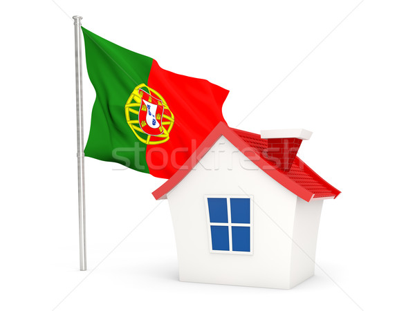 Casa bandiera Portogallo isolato bianco home Foto d'archivio © MikhailMishchenko