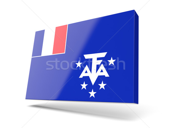 Stock photo: Square icon with flag of french southern territories