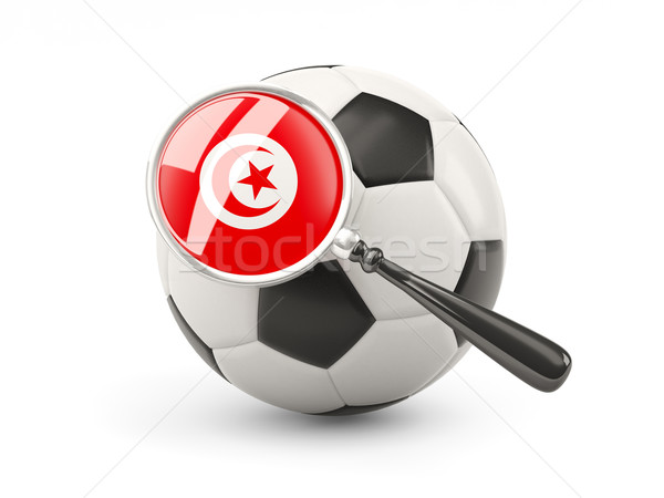 Futebol bandeira Tunísia isolado branco Foto stock © MikhailMishchenko