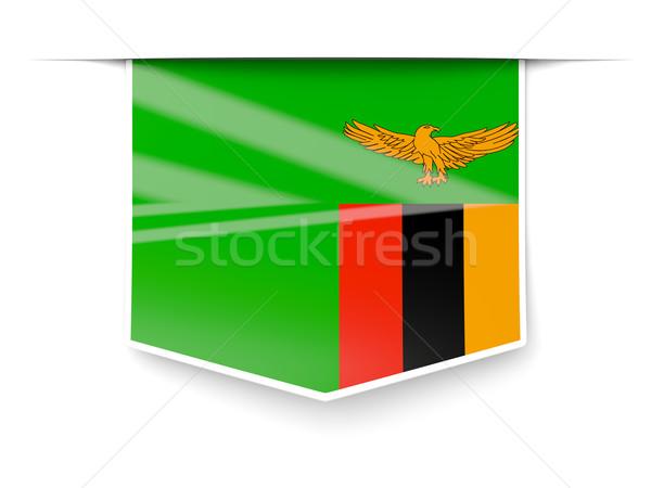 Kare etiket bayrak Zambiya yalıtılmış beyaz Stok fotoğraf © MikhailMishchenko