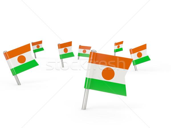 квадратный флаг Нигер изолированный белый стране Сток-фото © MikhailMishchenko