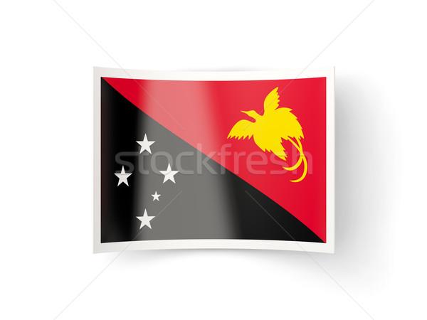 Ikon bayrak Papua Yeni Gine yalıtılmış beyaz ülke Stok fotoğraf © MikhailMishchenko