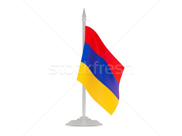 Banderą Armenia maszt 3d odizolowany biały Zdjęcia stock © MikhailMishchenko