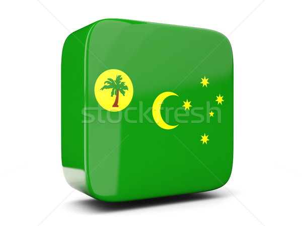 Square icon with flag of cocos islands square. 3D illustration Stock photo © MikhailMishchenko