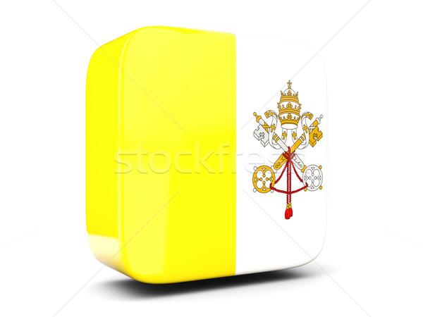 Placu ikona banderą Watykan 3d ilustracji odizolowany Zdjęcia stock © MikhailMishchenko