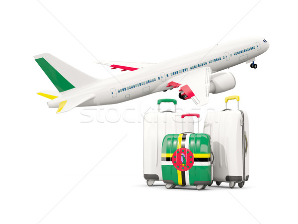 Luggage with flag of dominica. Three bags with airplane Stock photo © MikhailMishchenko