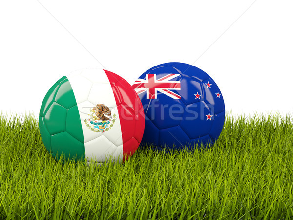 Two footballs with flags of Mexico and New Zealand on green gras Stock photo © MikhailMishchenko