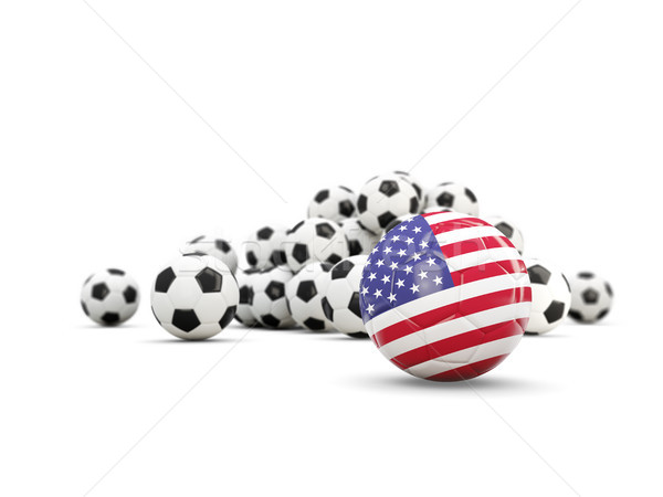 Football with flag of united states of america isolated on white Stock photo © MikhailMishchenko