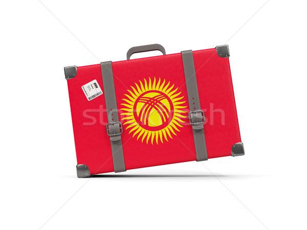 Bagaj bayrak Kırgızistan bavul yalıtılmış beyaz Stok fotoğraf © MikhailMishchenko