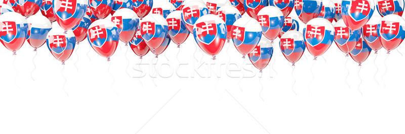 Balões quadro bandeira Eslováquia isolado branco Foto stock © MikhailMishchenko