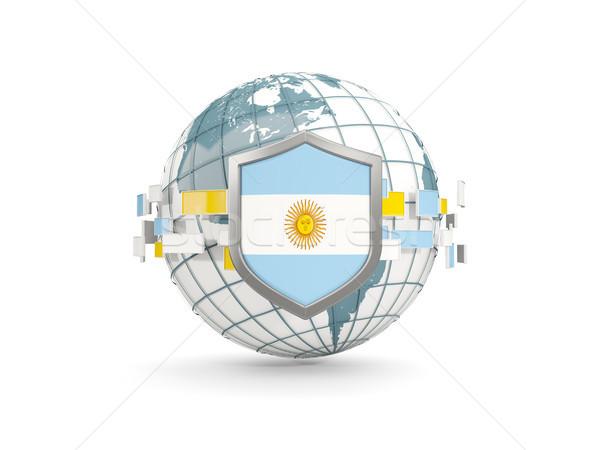 Földgömb pajzs zászló Argentína izolált fehér Stock fotó © MikhailMishchenko