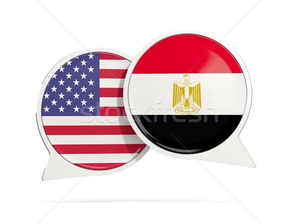 Chat buborékok USA Egyiptom izolált fehér Stock fotó © MikhailMishchenko