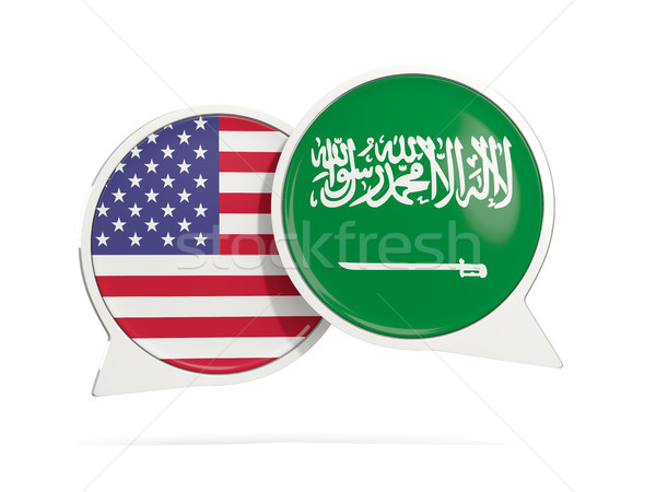 Chat bubbles of USA and Saudi Arabia isolated on white Stock photo © MikhailMishchenko
