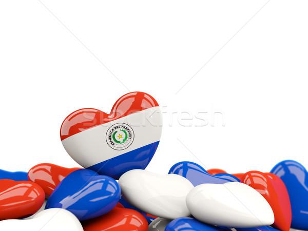 Serca banderą Paragwaj górę serca odizolowany Zdjęcia stock © MikhailMishchenko