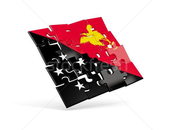 Bilmece bayrak Papua Yeni Gine yalıtılmış beyaz 3d illustration Stok fotoğraf © MikhailMishchenko