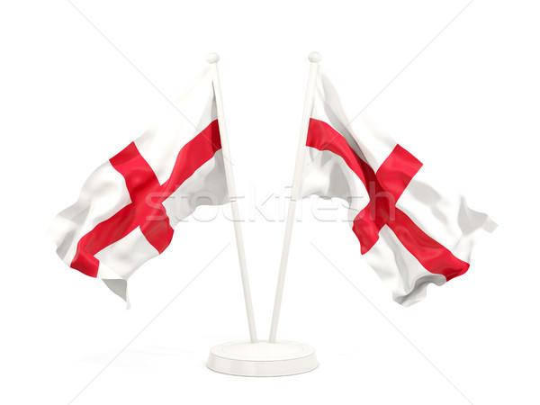 Kettő integet zászlók Anglia izolált fehér Stock fotó © MikhailMishchenko