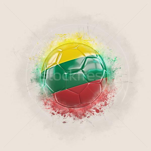 Grunge voetbal vlag Litouwen 3d illustration wereld Stockfoto © MikhailMishchenko