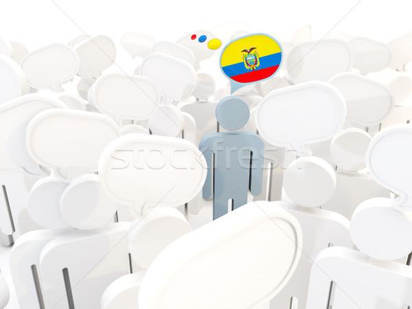 человека флаг Эквадор толпа 3d иллюстрации знак Сток-фото © MikhailMishchenko