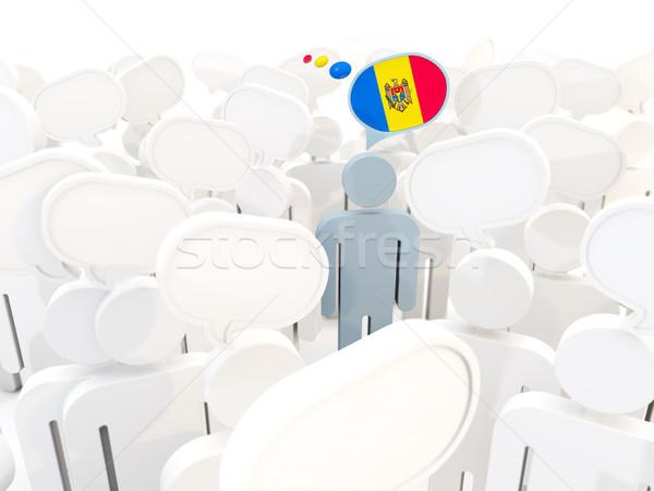 Férfi zászló Moldova tömeg 3d illusztráció felirat Stock fotó © MikhailMishchenko